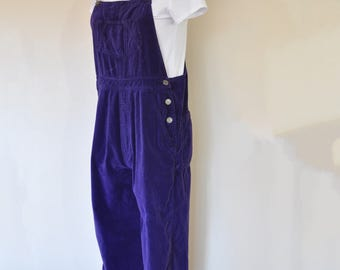 Purple Small Bib OVERALL Pants - Violet Dyed Upcycled Gap Cotton Velveteen Cropped Overall - Adult Womens Size Small (34 W x 26 L)