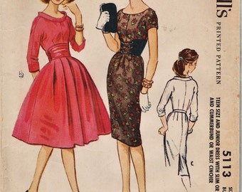 McCalls 5113 / Vintage 50s Sewing Pattern / Dress / Size 11
