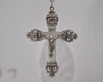 Antique Mother of Pearl and Solid Silver Crucifix Pendant Filigree Jesus Christ