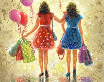 Party Girls Art Print, two sisters, birthday girls, two girl friends, best friends, balloons, gift bags, presents, Vickie Wade Art