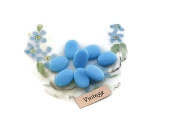 Vintage 14x10 Blank Cabochons Glass oval NOS 8 pcs Beautiful Banks For Handpainting Powder Blue Milk blue Japan Ovals. #59