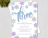 Snowflake Glitter Birthday Invitation / Blue, Purple and Silver Glitter Snowflakes / PRINTABLE INVITATION / 1243