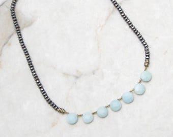 Mint Gemstone Necklace. Metallic Necklace. Aqua Mint Necklace. Mint Stone Necklace. Aqua Stone Necklace. Simple Boho Necklace. VALO