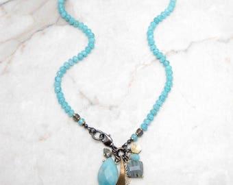 Boho Dangle Necklace. Aqua Quartz Necklace. Cluster Charm Necklace. Stone Quartz Necklace. Chunky Boho Necklace. TaraLynEvans. LILY