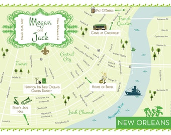 New Orleans Wedding Map. 5x7 Map. Wedding Weekend Map. New Orleans.
