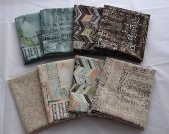 SWEET SERENADE 8 fqs Moda Fabric Music collage sketchbook aged parchment aqua sepia Basic Grey shabby quilting sewing fat quarters