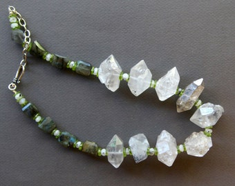Coupon SALE Huge Double Terminated Crystal Quartz Necklace Rustic Tibetan Diamond Crystals with Labradorite and Peridot Gemstone Jewelry