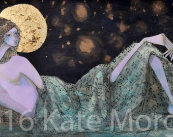Large print Classical nude Odalisque mixed media female portrait in a night sky