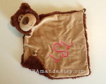 Brown BEAR Minky Blanket - Brown Monogrammed Bear Blankie - Security Blanket - Cubbie Blanket