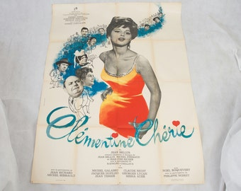 Huge French film poster, original vintage piece , 1960s. Clementine Cherie collectable wall art picture retro