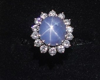 Star Sapphire Ring Rare Vintage Untreated Unheated Genuine Natural 6 Ray Blue Star Sapphire w Diamond Halo Cocktail Ring in Solid 14K Gold