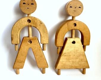 Vintage Wood Toy Figures, Wooden Block Toy Figures, Vintage Wood Man Woman, Wooden Girl Boy, Wood Toys, Wood Block People, Vintage Wood Toy