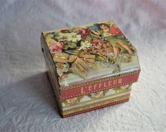 Vintage L'EFFLEUR COTY Perfume BOX Victorian Ephemera Paper Cover Gift Flower Floral Ribbon Bow Lace Chest Cherub Cologne Container Empty