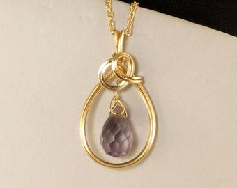 Purple Amethyst Gemstone Gold Pendant Necklace,  Real Amethyst Wire Wrapped Chain Necklace, Amethyst Gift for Her