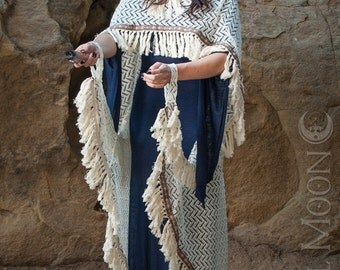 """Specialty: The """"Tribal Fringe"""" Hooded Sweater Knit Cape in Winter White by Opal Moon Designs (One Size)"""
