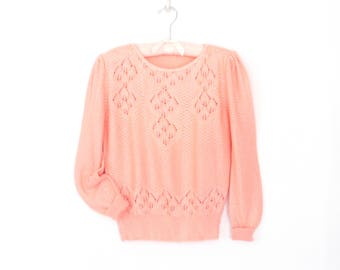 Vintage 80s Knit Top * Pointelle Pullover * Peach Puff Sleeve Sweater * Medium