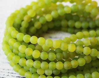 "4mm Round Gemstone Beads - Dyed Jade - Matte Gemstone Beads - Jewelry Making Supply - 15"" strand - Lime Green"