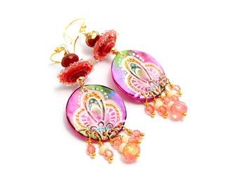 Colorful Lampwork Bead Earrings. Boho Gypsy Ethnic Tribal Earrings. Long Dangle Earrings. Spring Colors. Gifts For Her. Glass Bead Jewelry.