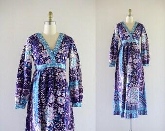 1970s botanical maxi dress