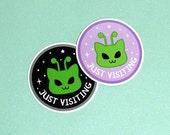 Martian Kitty Just Visiting Vinyl Sticker - Water Resistant Cat Alien Sticker