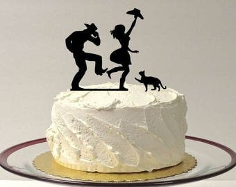MADE In USA, CowBoy CowGirl + Cat Wedding Cake Topper, Country Wedding, CowBoy and Cowgirl Wedding Cake Topper, Country Western Southern