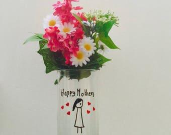 READY TO SHIP Vase, Mothers Day Vase, Vase for Mom, Vase Mothers Day Mom, Happy Mothers Day Mom, Flower Vase, Mothers Day Gift Mom