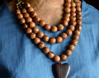 Chunky Olive Wood Beads & Ebony Wood Heart Pendant Necklace