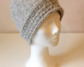 Hand knit grey alpaca wool hat