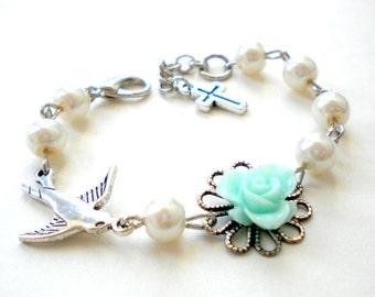 First Communion Gift Newborn Bracelet Baby Girl Baptism Gift Toddler Bracelet Baptism Bracelet Turquoise Bracelet Flower Girl Gift
