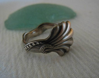 Embraced by Silver    Spoon Ring  Antique  Sterling Silver  Size 8.5