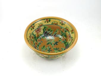 Handmade Ceramic Cereal Bowl - Floral Pottery Bowl - OOAK - Yellow Porcelain Bowl with Flowers