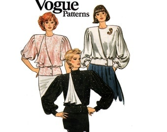 80s Vogue 9752 Draped Asymmetric Full Sleeve Blouse Vintage Sewing Pattern Size 8 Bust 31 1/2 inches