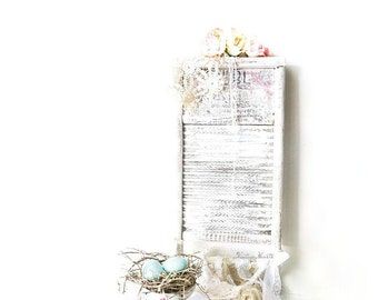 Rustic Farmhouse Chic Charm Towel Rack Antique Collectible Washboard, Creative Altered Art by 3VintageHearts