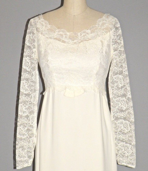 Vintage Wedding Dresses 1960s: Vintage 1960s Wedding Dress 60s Bridal Dress Ivory Lace