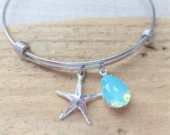 Starfish Charm Bracelet, Beach Bracelet, Adjustable Bangle Bracelet, Swarovski Seafoam Aqua Opal Crystal, Stainless Steel, Beach Jewelry