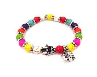 Hamsa Bracelet - Beaded Bracelet - Boho Bracelet - Protection Bracelet - Multi Colored - Colorful Bracelet Good Luck Gift Elephant Bracelet