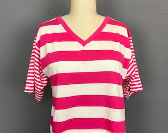 80s cropped striped Club USA Pink striped tee shirt tshirt medium WT62365