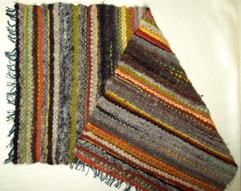 Hand Woven Small Rug, woven bath mat, striped table runner, hand woven mantel scarf, woven alpaca and wool rug