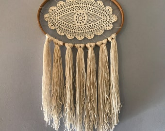 White Weaving Wall Hanging Eye with Lace, Wood, Macrame