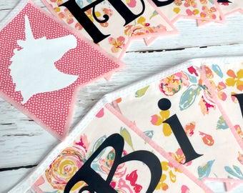 Unicorn Birthday Banner - Happy Birthday Sign - Pink Birthday Banner - Pastel Unicorn Sign - Unicorn Party