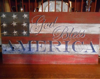 GOD Bless America Sign,Hand Painted Original, Barnwood