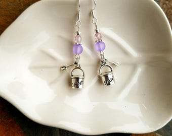 Lavender Sand Bucket Earrings, Purple Sand Sterling Silver Earrings, Silver Day At The Beach Earrings, Purple Sand Sterling Silver Earrings