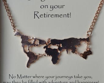 retirement gift, world map necklace for retirement gift, retirement world map necklace, retiree gift, map necklace black gold silver, rose