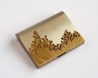 Vintage Gold Compact Stylized Flowers Retro Mod Mid Century 1960s Wadsworth Carryall Powder Lipstick Mirror Fabric Case Made in USA