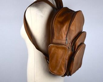 Large Brown Leather Backpack    Leather Purse    Shoulder Bag