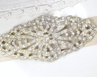 Vintage 1930 Bridal Hair Comb / Wedding Dress Sash Brooch Art Deco Pave Rhinestone Large Hairpiece Headpiece Great Gatsby Head Piece Jewelry
