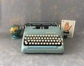 Vintage Typewriter  Smith Corona  Aqua, Super Silent, portable, manual, working