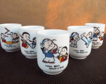 Set of Five Vintage Porcelain Korean Children's Play Saki Tea Cups