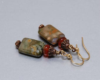 TERRA VERDE - Olive green Rhyolite earrings, rhyolite, carnelian, orange and green, rectangle, autumn colors, natural colors, timeless