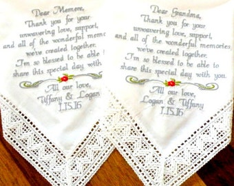 Wedding Gift For Grandma and Mom for your wedding day Gift for Grandmas Set of 2 Embroidered Wedding Handkerchiefs Canyon Embroidery